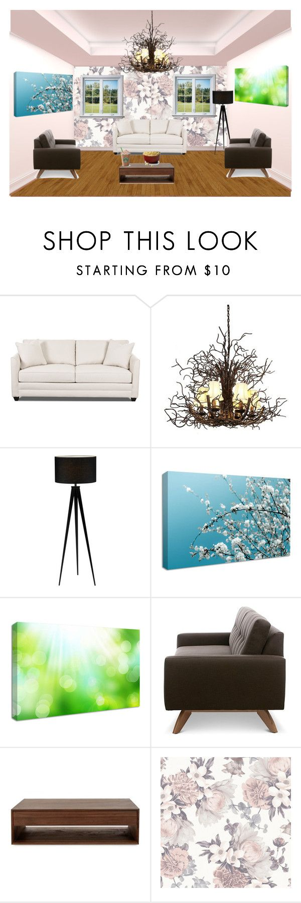 """Seating Room #1"" by taishacasimir ❤ liked on Polyvore featuring interior, interiors, interior design, home, home decor, interior decorating, Dot & Bo, TrueModern and Tempaper"