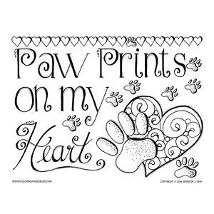 Printable Coloring Pages For Adults Valentines Or Any Time Paw Prints Page