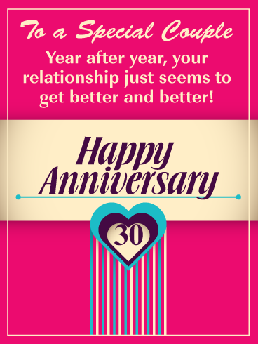 It Gets Better And Better Happy 30th Milestone Anniversary Card For Couple Birthday Greeting Cards By Davia Happy Anniversary Cards Anniversary Card For Parents Anniversary Cards For Couple