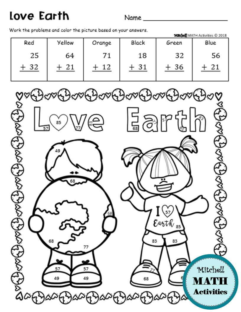 Earth Day 2 Digit Addition And Subtraction Color By Number Printable Pages Addition And Subtraction Disney Themed Classroom First Grade Reading Comprehension [ 1056 x 816 Pixel ]
