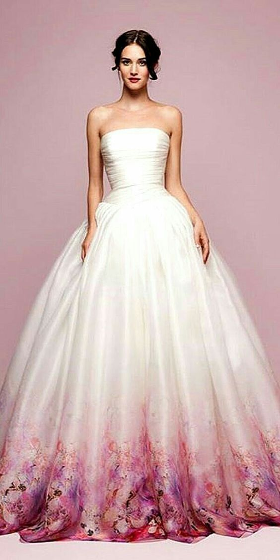 Floral Bottom White Satin Gown Fitted Wedding Dress Ball Gowns