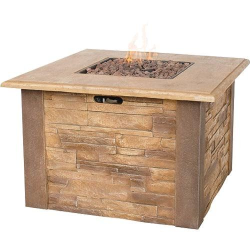 Uniflame Lp Gas Outdoor Fire Bowl With Faux Stacked Stone
