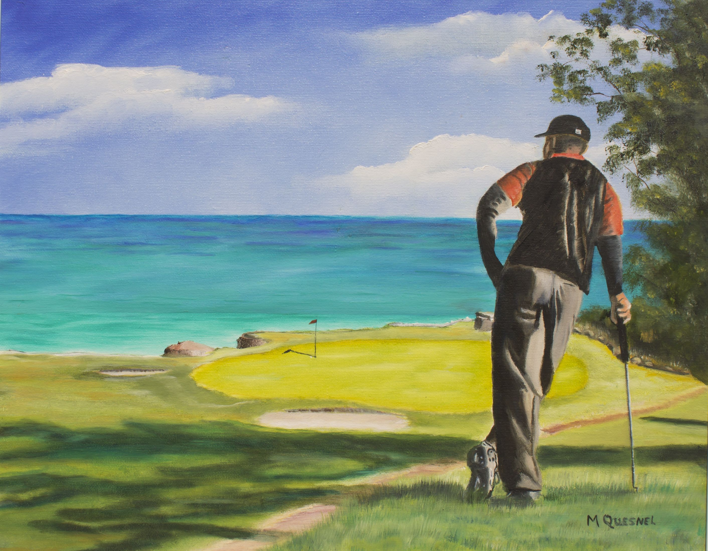 """Tiger Woods painting, """"Another Birdie"""" Price $4,500.00 This original golfing scene oil painting of a Famous Golfer was presented at an amazing show: Focus Art 2011 Juried Art Show, in Cornwall, Ontario. The result of this 7th Annual Juried Art Exhibition was 2nd Place: in the Oil Paintings category. This work signed by Marcel Quesnel"""