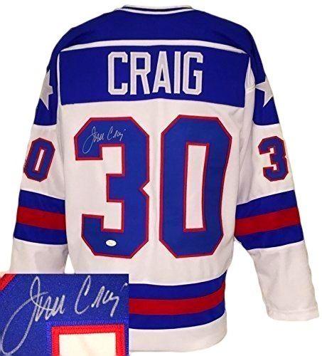 JIM CRAIG USA SIGNED CUSTOM WHITE MIRACLE ON ICE HOCKEY JERSEY JSA