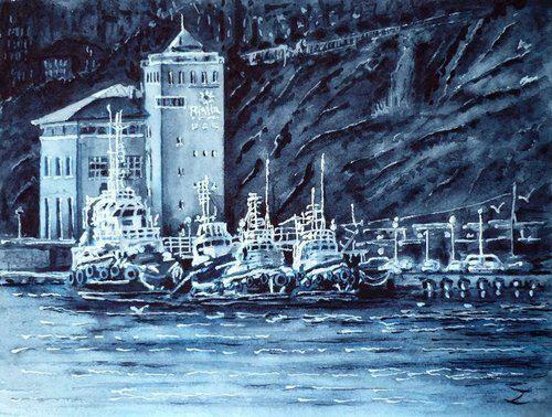Tugboats, indigo morning, watercolour by Zaira Dzhaubaeva, Rusia.Available bpbilbao@gmail.com