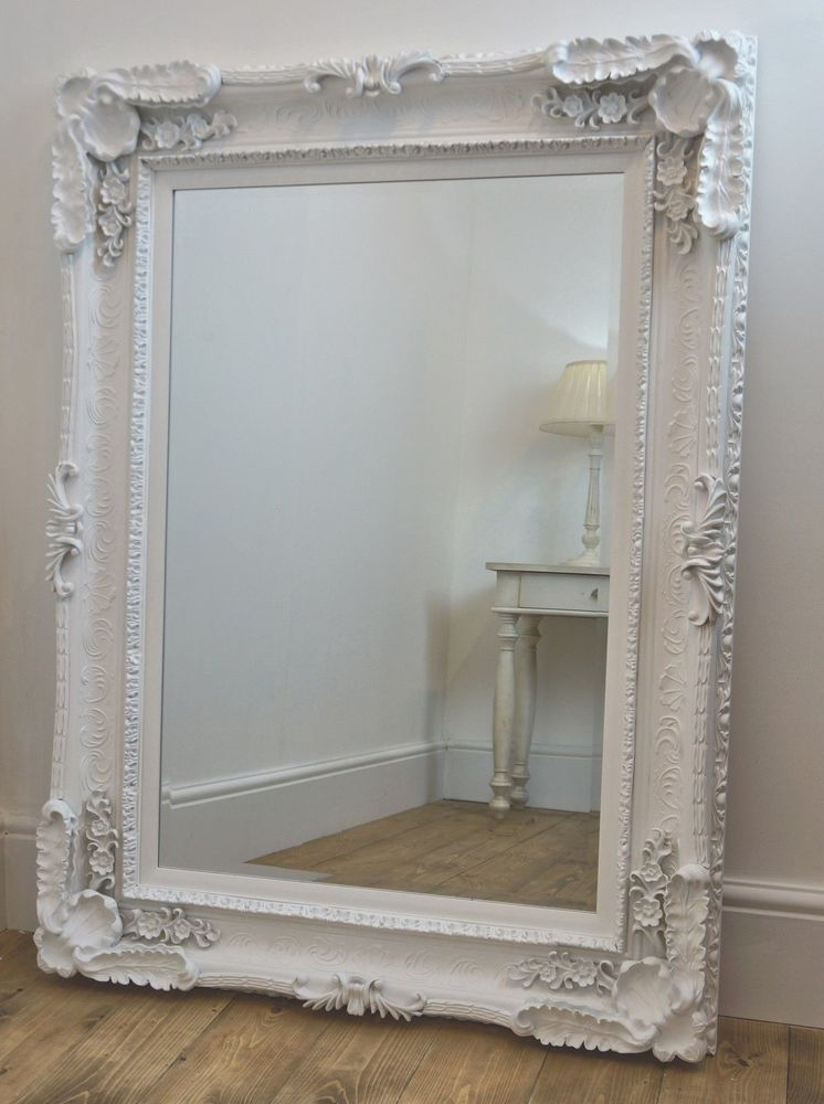Large Beveled White Ornate French Shabby Chic Wall Mirror 4 X3 In