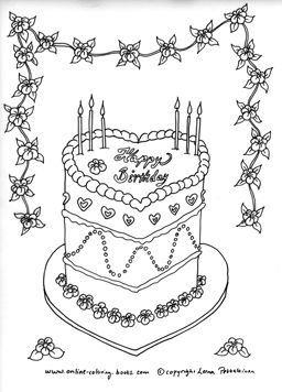 Birthday Cake Coloring Page Heart Shaped