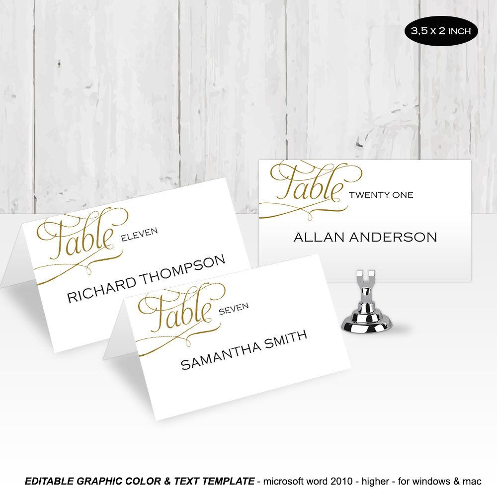 DIY Place card| Wedding place cards| Templates| Printable| Editable ...