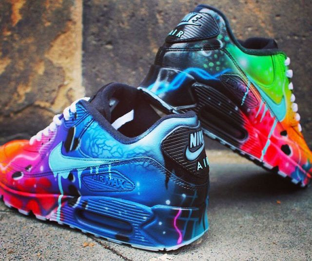 Nike Air Max 90 Blue Galaxy Style Painted Custom Shoes Sneaker Airbrush  Kicks rare schuhe *UNIKAT* special PRICE for a short time