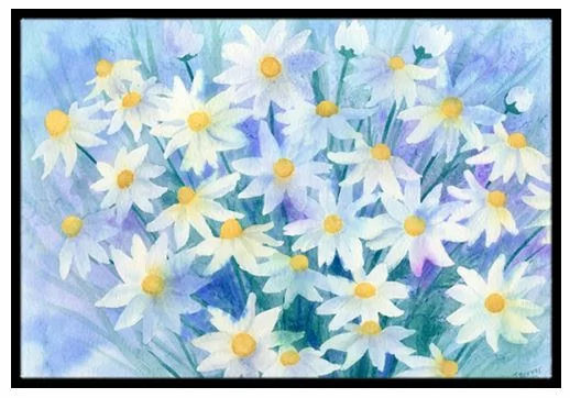 Caroline S Treasures Light And Airy Daisies Non Slip Outdoor Door Mat Wayfair Daisy Painting Prints Floral Bath Rugs