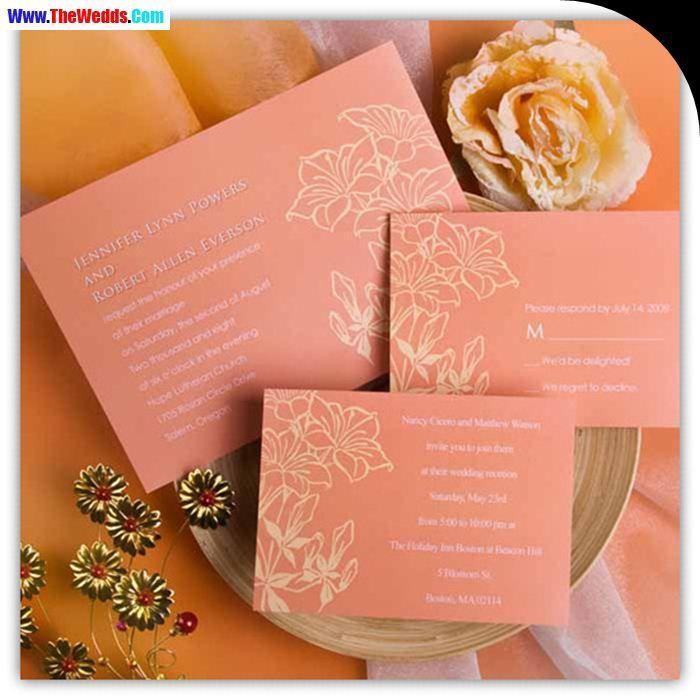 golden phrase coral wedding invitations Wedding Invitations