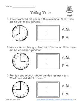 Telling Time Plants Freebie Time Worksheets Telling Time Worksheets Third Grade Math Worksheets Digital clock worksheets for grade 3