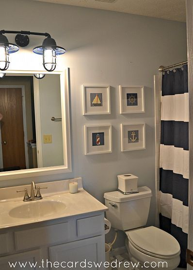 Bathroom Makeover Nautical Bathroom Decor Navy Blue Bathroom