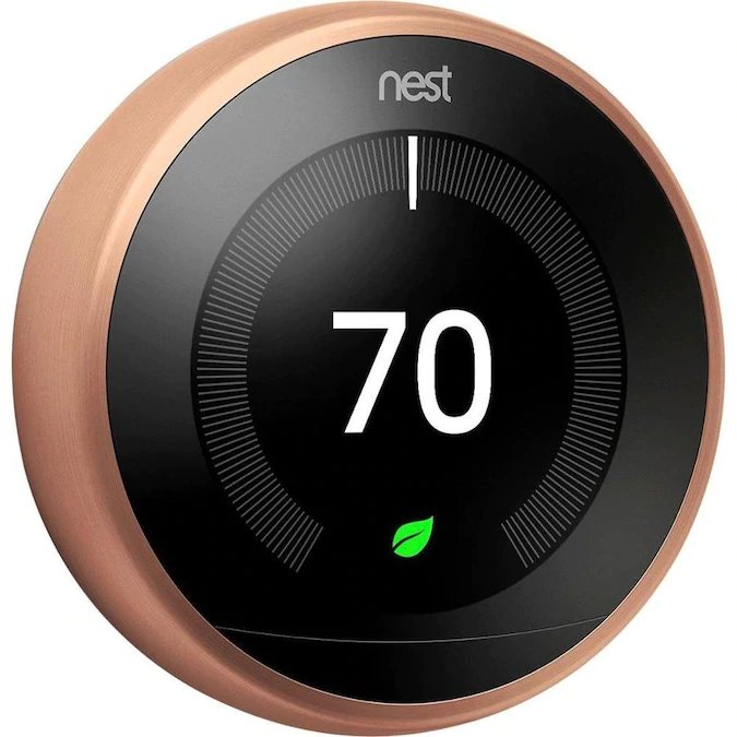 Google Nest Learning Smart Thermostat With Wifi Compatibility 3rd Generation Copper Lowes Com Nest Learning Nest Learning Thermostat Smart Thermostats