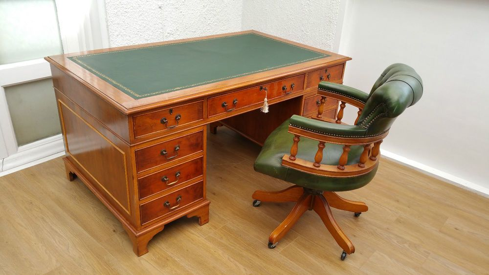 5x3ft Antique Style Yew Desk With Brand New Green Leather Top Captains Chair New Green Retro Furniture House In The Woods