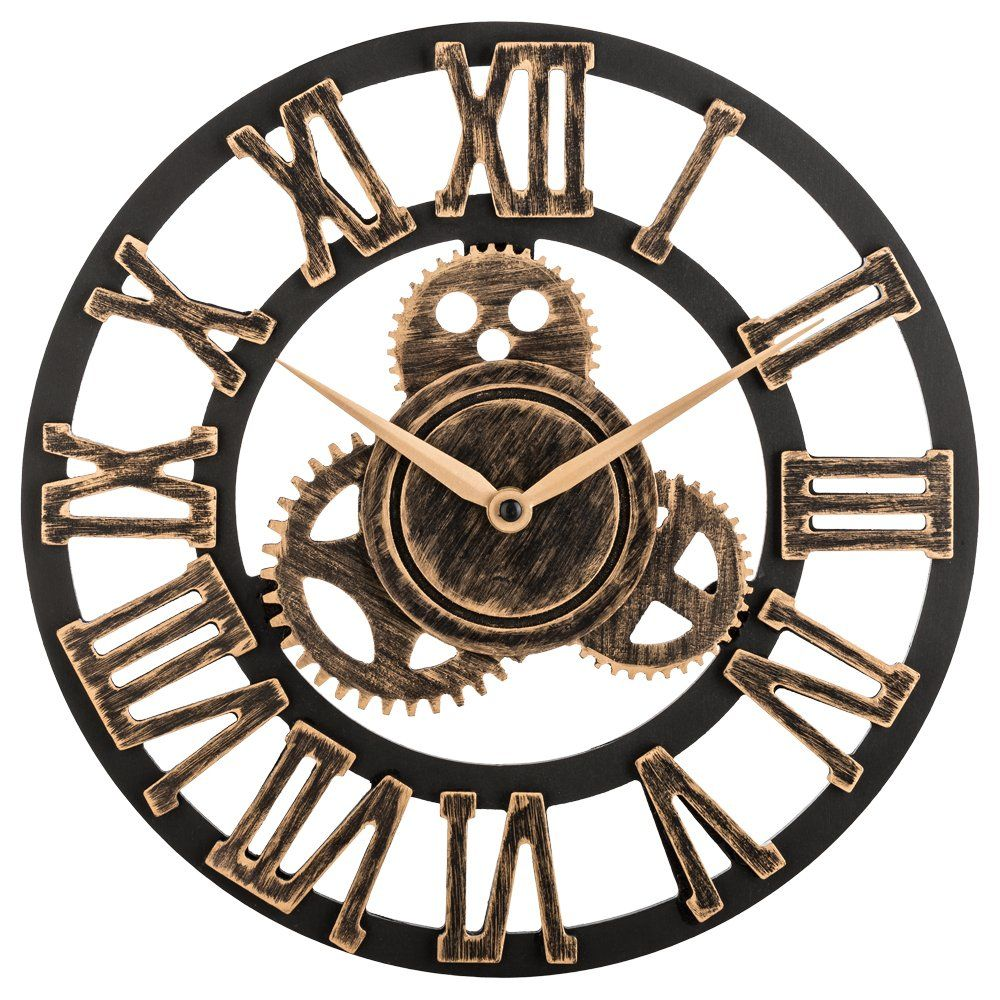 Oldtown Clock 12 Inch Noiseless Silent Gear Wall Clock Large 3d Retro Rustic Country Decorative Luxury Art Big Wood Gear Wall Clock Clock Wall Clock