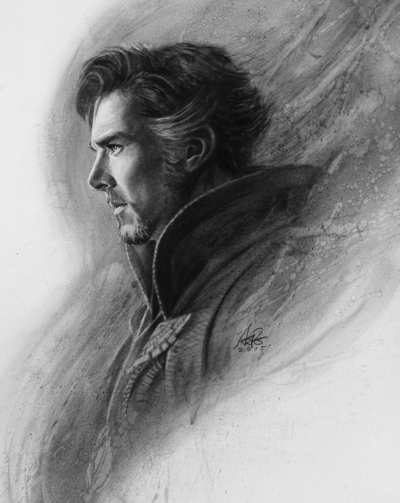 Really excited about the upcoming dr strange movie featuring benedict cumberbatch so here is a little tribute to that done in charcoal on strathmore