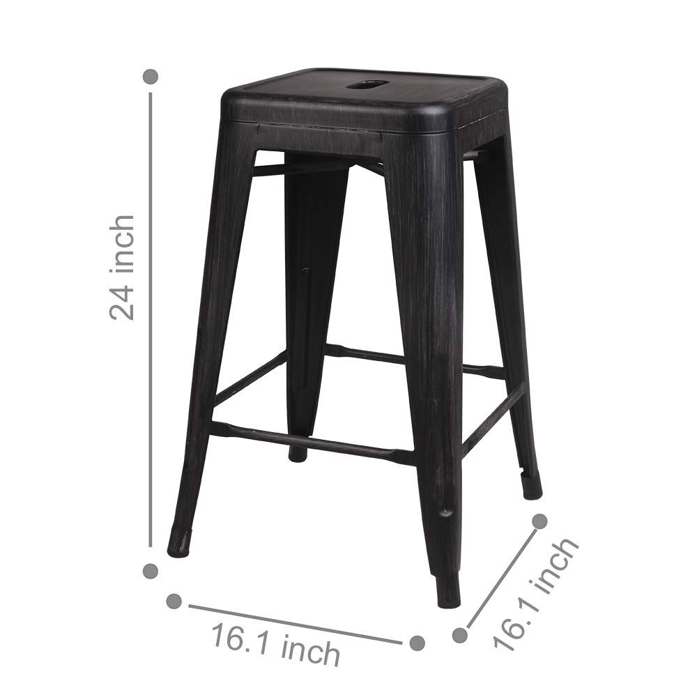 Gia M0124antibk 2 Barstools 24 Metal Stool 2pack Antique Black