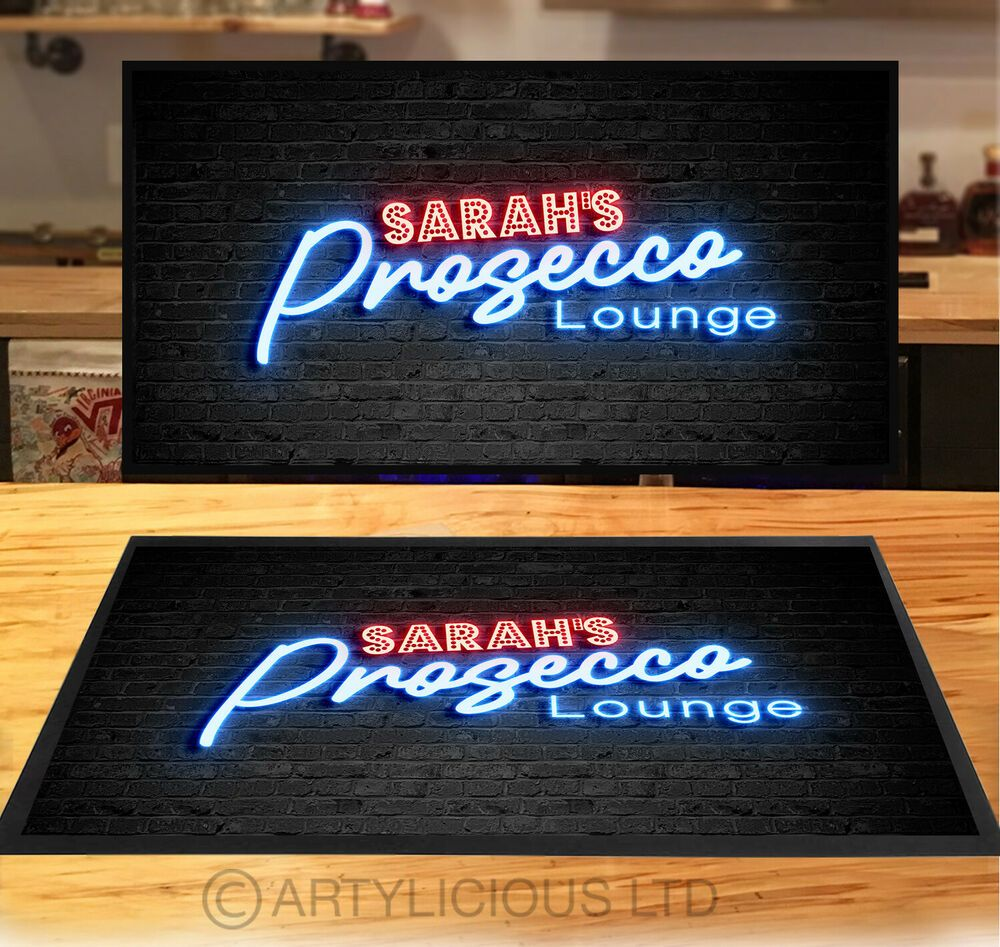 Personalised with any name Blue Neon retro Bar runner mat pubs /& clubs Home Bar