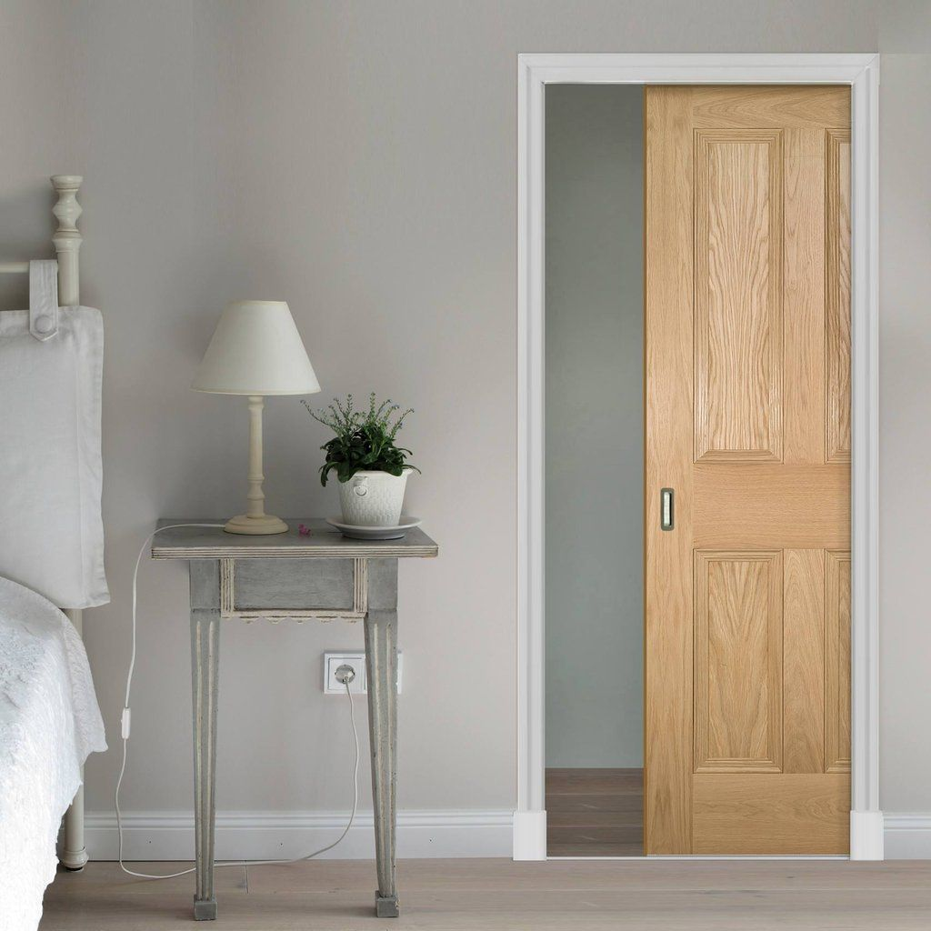 Deanta Single Pocket Kingston oak Door Unfinished & Deanta Single Pocket Kingston oak Door Unfinished | Oak doors ...