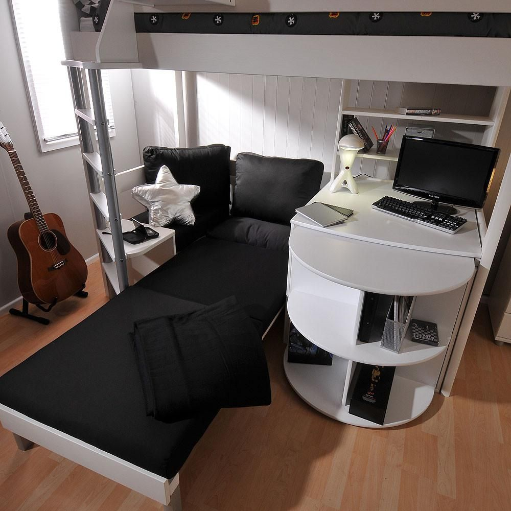Loft bed with desk and pull out bed  Stompa Casa  White High Sleeper with Sofa Bed u Pull Out Desk