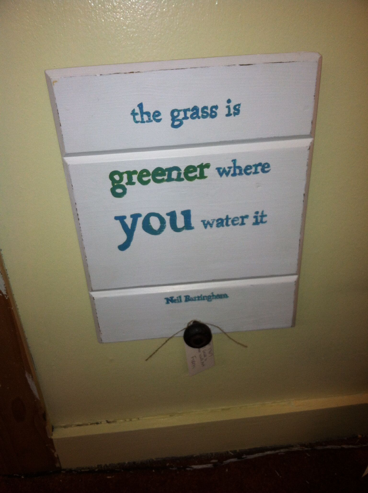 Lightly distressed with vintage knob. The grass is greener where you water it. See more on Facebook at Vendor 1767