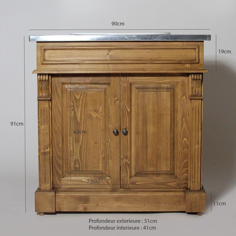 meuble de salle de bain 2 portes en pin massif 1 vasque avec plateau mtallique - Meuble Salle De Bain Bois 1 Vasque