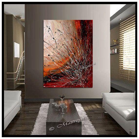 peintures abstraites de grand oeuvre rouges abstrait oeuvre importante de toile moderne art. Black Bedroom Furniture Sets. Home Design Ideas