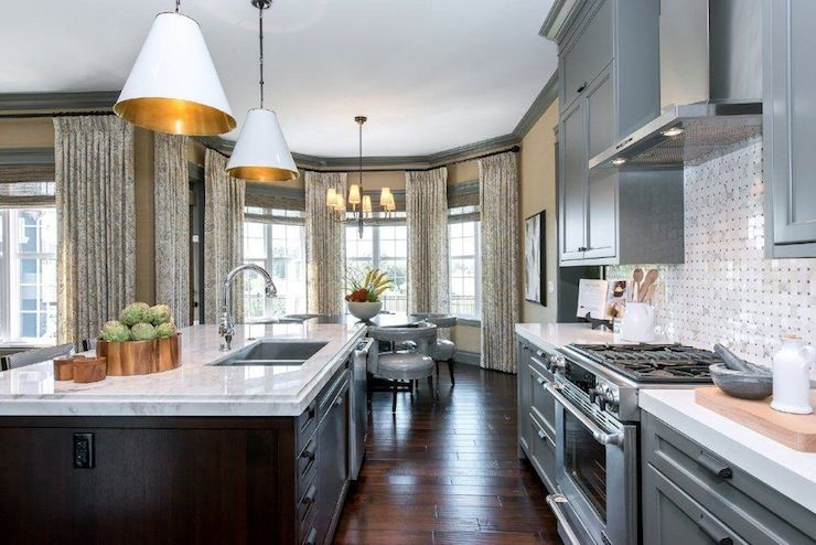 Atmosphere Interior Design Incredible Two Toned Lshaped Kitchen Prepossessing L Shaped Kitchen Island Design Inspiration