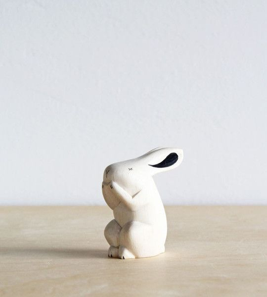 These gorgeous wooden animals are hand carved and carefully finished one by one by skilled craftsmen.RabbitSize 3 / 5.2 / 6H (cm)Handmade Woodworks by T-Lab. Ma