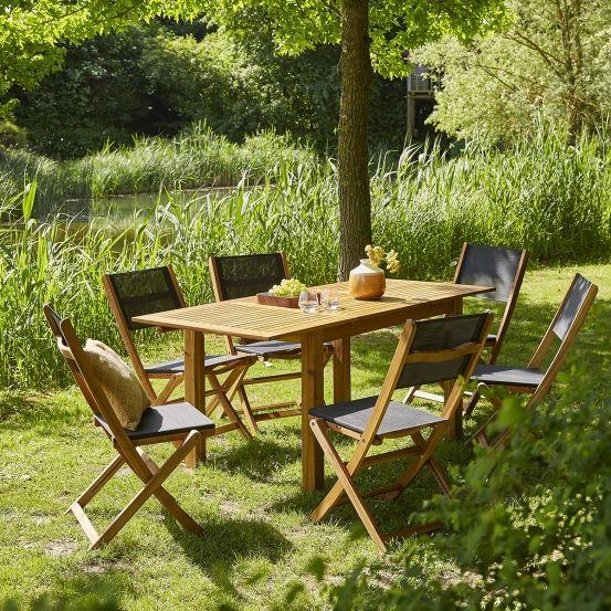 Salon de jardin en bois d\'acacia FSC noir rallonge 6/8 ...