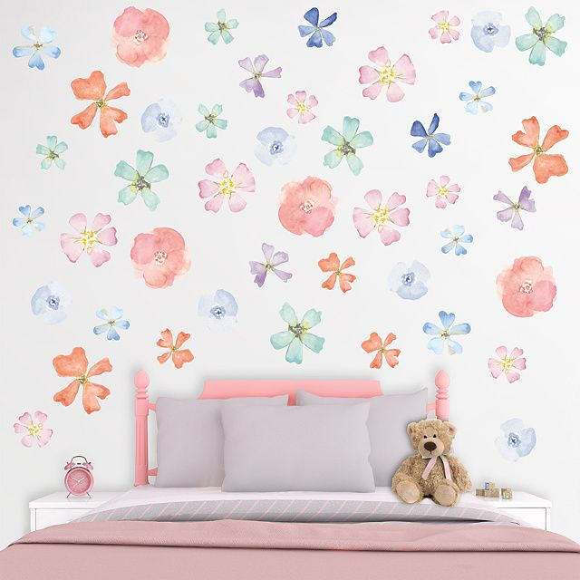the watercolor flowers wall decal provides an easy decorating