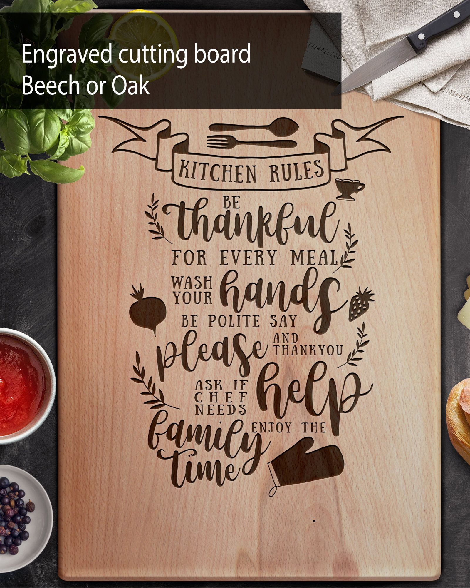 Kitchen Rules Engraved Cutting Board, Custom Cutting Board, Wedding Gift, Anniversary Gift, Christmas Gift housewarming gift Homeowner gift #kitchenrules