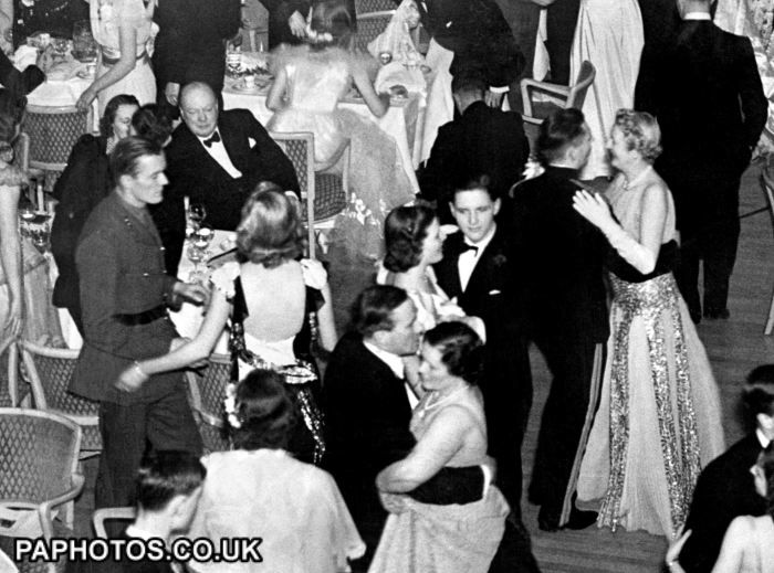 London 1940: Sir Winston Churchill at the Debutantes Ball at which his youngest daughter Mary was one of the 220 girls who came out.