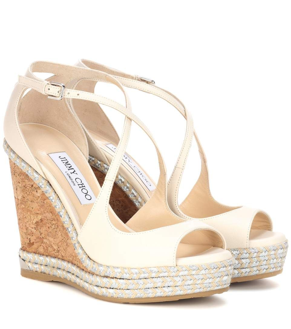 ed5a012887 JIMMY CHOO Dakota 120 Leather Wedge Sandals. #jimmychoo #shoes #sandals