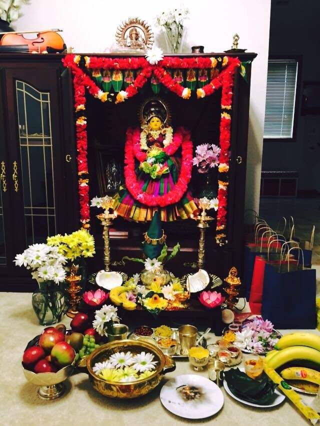South Indian Home Decor Ideas Part - 45: My First Varalakshmi Vratham Decoration At Home.