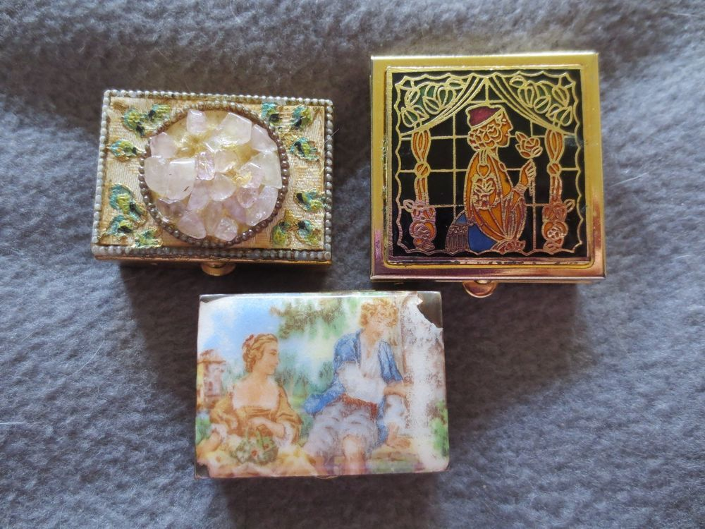 Lot of 3 VINTAGE BRASS SNUFF CASE Agate Quartz Stone Enamel Pictorial Pill Boxes