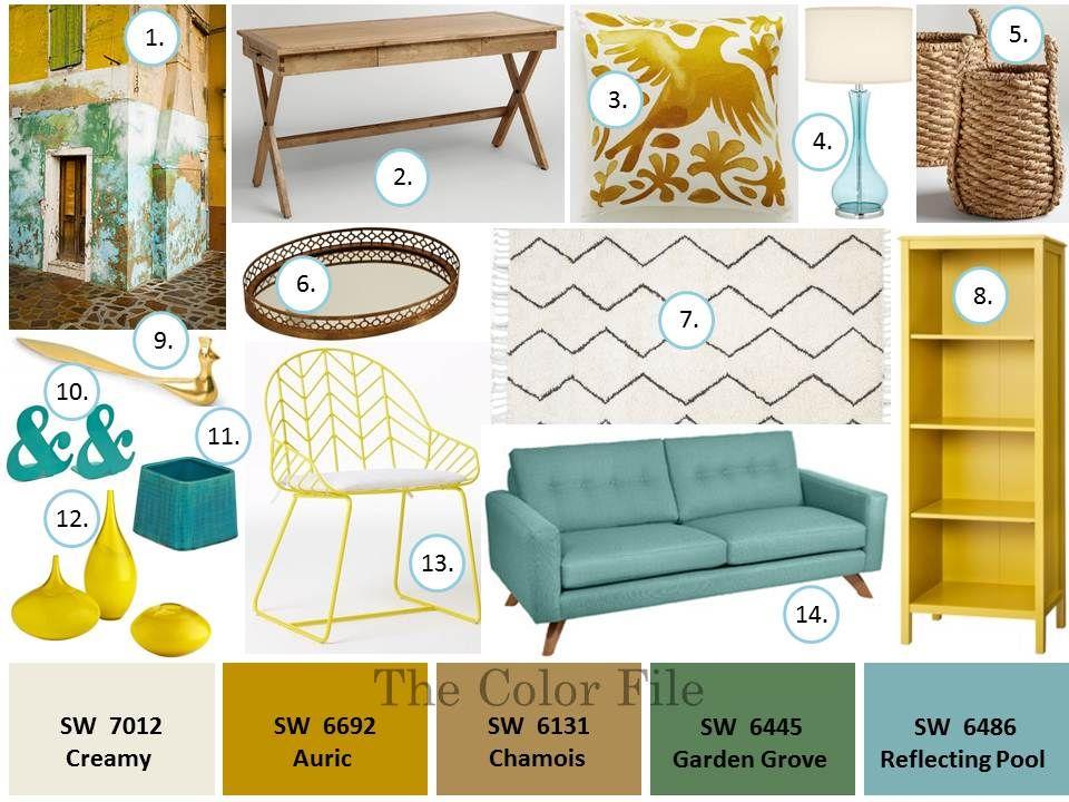 Home Office Color Palette Golds Blue The Color File Mid