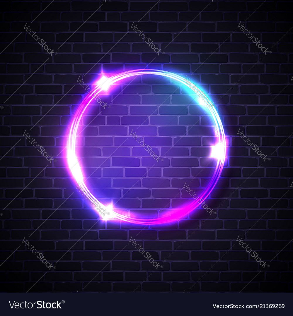 Neon Lights Sign Circle Background On Brick Wall Electricity Effect Glowing Electric Led Lights Banner Ro In 2021 Neon Light Signs Neon Lighting Circle Logo Design
