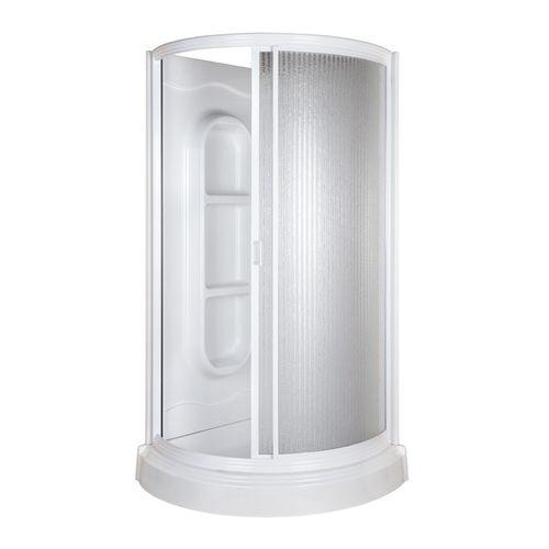Zoomed Aqua Glass 78 H X 37 3 4 W X 37 3 4 L High Gloss White
