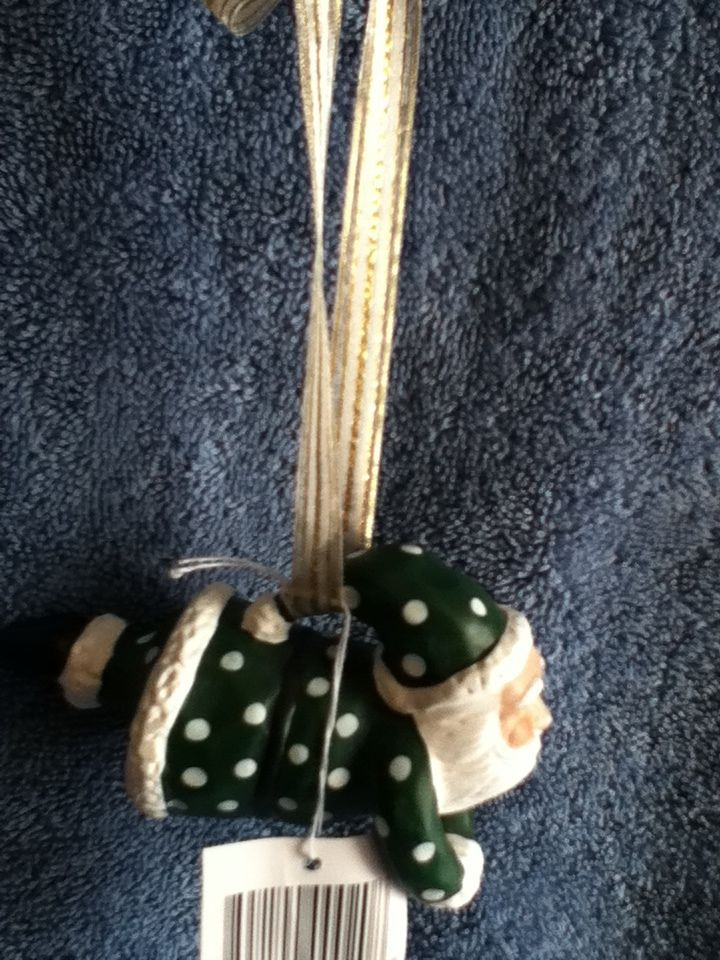 Flying Santa Claus Christmas Tree Ornament Decoration Green Polka Dots 4 In. NEW