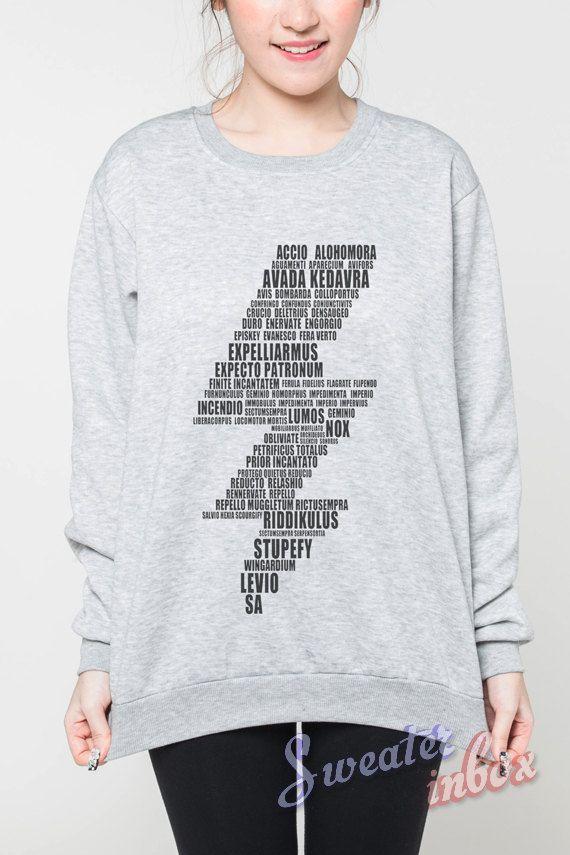 Harry Potter Sweatshirts Lightning Bolt Spells Movie T Shirt Sweater Women Tee Shirt T Shirt Unisex Jum Ladies Tee Shirts Harry Potter Sweatshirt Womens Shirts