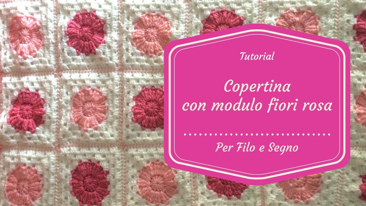 Tutorial copertina mattonella con fiore rosa #copertina #uncinetto
