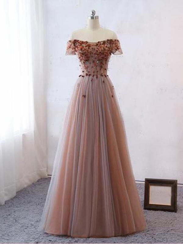 Photo of A-Line Off Shoulder Tulle Appliqued Long Prom Dresses,VPPD492