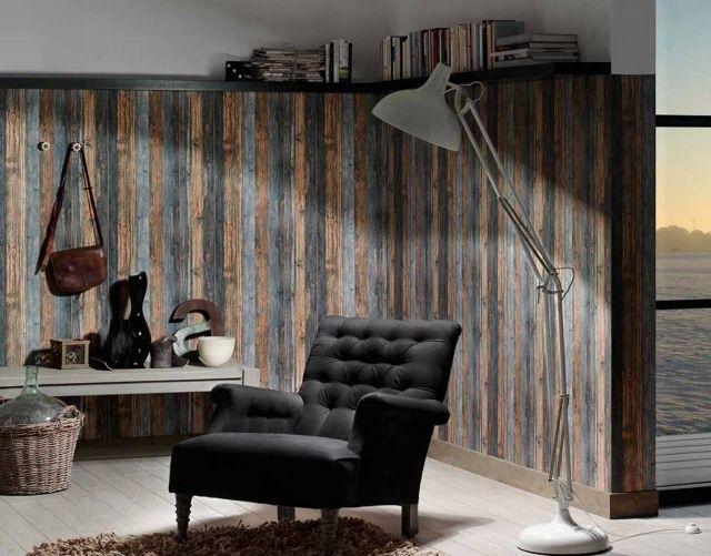 tapeten altholz optik dunkel flur leseecke schwarzer sessel - stein tapete wohnzimmer ideen