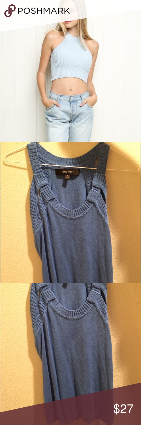 Blue Knit Tank ON MERC: $24 SHIPPED not listed brand but similar style but just a darker blue without a cropped fit. More comfortable than the cropped version in my opinion. Worn once new condition. Brandy Melville Tops Tank Tops