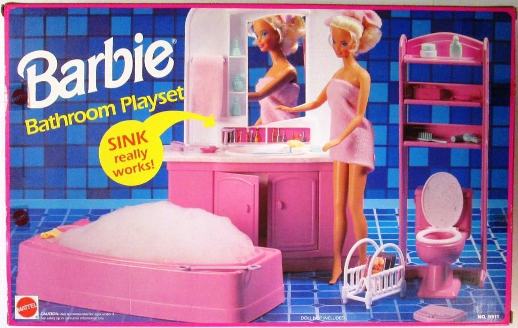 1993 Barbie Bathroom Playset By Mattel 1993 Barbie Playsets