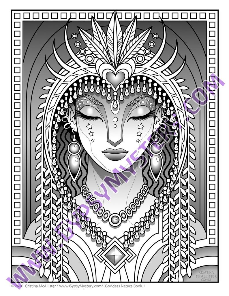 Goddess Nature Book 1 Digital Download 21 Mystical Coloring Etsy In 2021 Coloring Pages Coloring Books Fantasy Art Illustrations