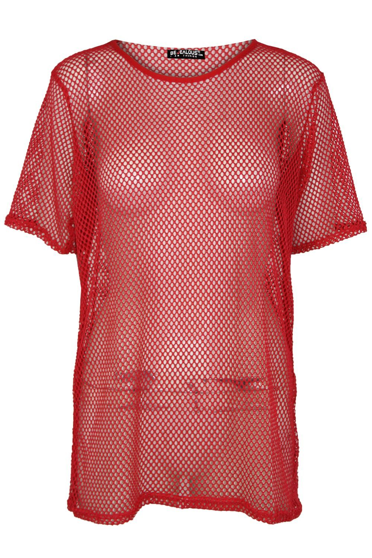 643a5e410b7 Ladies Lace Crochet Short Sleeve Fishnet T Shirt Womens Oversized Baggy Top  8-14
