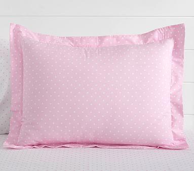 Organic Pin Dot Standard Sham, Pale Pink